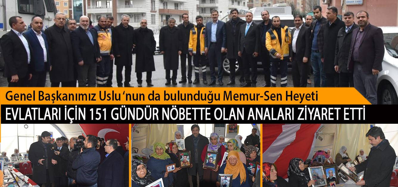 Genel Başkanımız Uslu'nun da bulunduğu Memur-Sen Heyeti Evlatları İçin 151 Gündür Nöbette Olan Anaları Ziyaret Etti