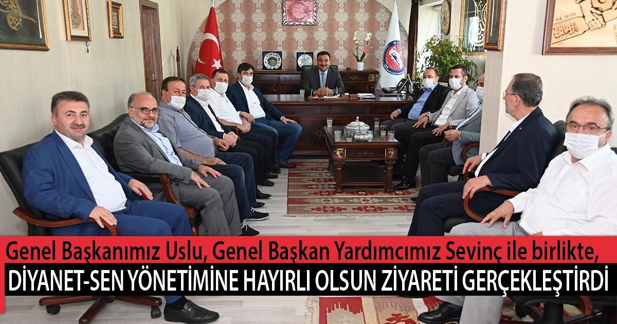 Genel Başkanımız Uslu, Genel Başkan Yardımcımız Sevinç ile birlikte, Diyanet-Sen Yönetimine Hayırlı Olsun Ziyareti Gerçekleştirdi