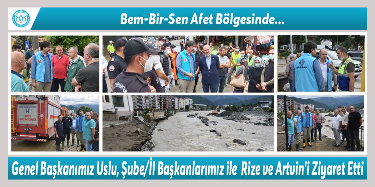 Bem-Bir-Sen Afet Bölgesinde… Genel Başkanımız Levent Uslu, Şube/İl Başkanlarımız ile birlikte Sel Felaketinin Yaşandığı Rize ve Artvin'i Ziyaret Etti