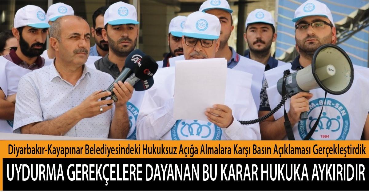 """Diyarbakır-Kayapınar Belediyesindeki Hukuksuz Açığa Almalara Karşı Basın Açıklaması Gerçekleştirdik; """"Uydurma Gerekçelere Dayanan Bu Karar Hukuka Aykırıdır"""""""